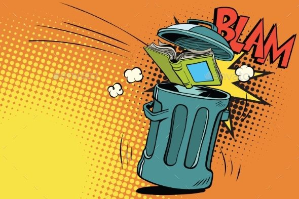 Book Thrown in the Trash - Miscellaneous Vectors