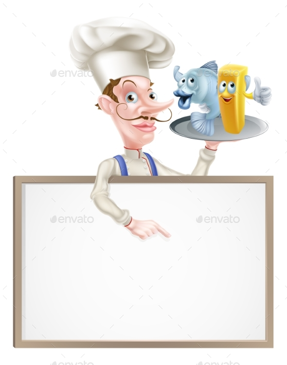 Cartoon Chef Holding Fish and Chips Sign - Food Objects