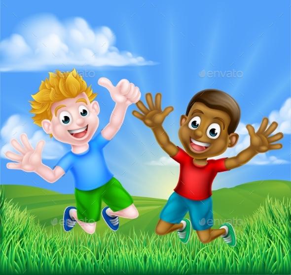 Happy Cartoon Boys Jumping - Landscapes Nature