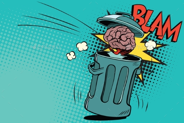 Human Brain Is Thrown in the Trash - Miscellaneous Vectors