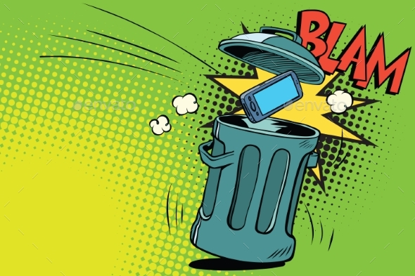 Smartphone Thrown in the Trash - Technology Conceptual