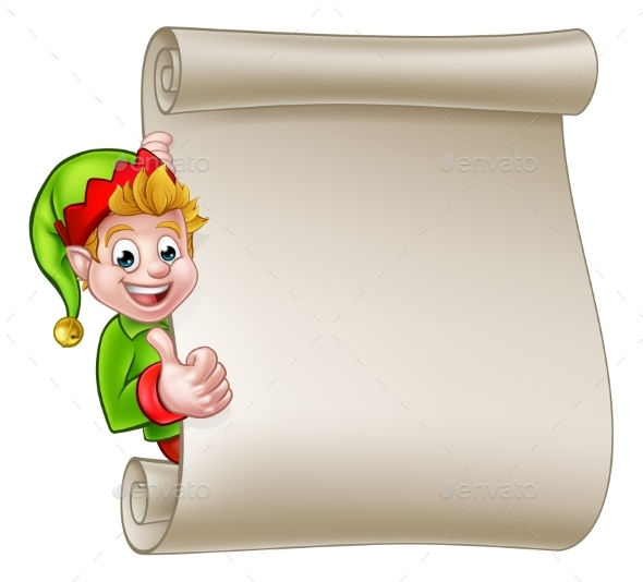 Christmas Scroll Santa Helper Elf - Miscellaneous Vectors