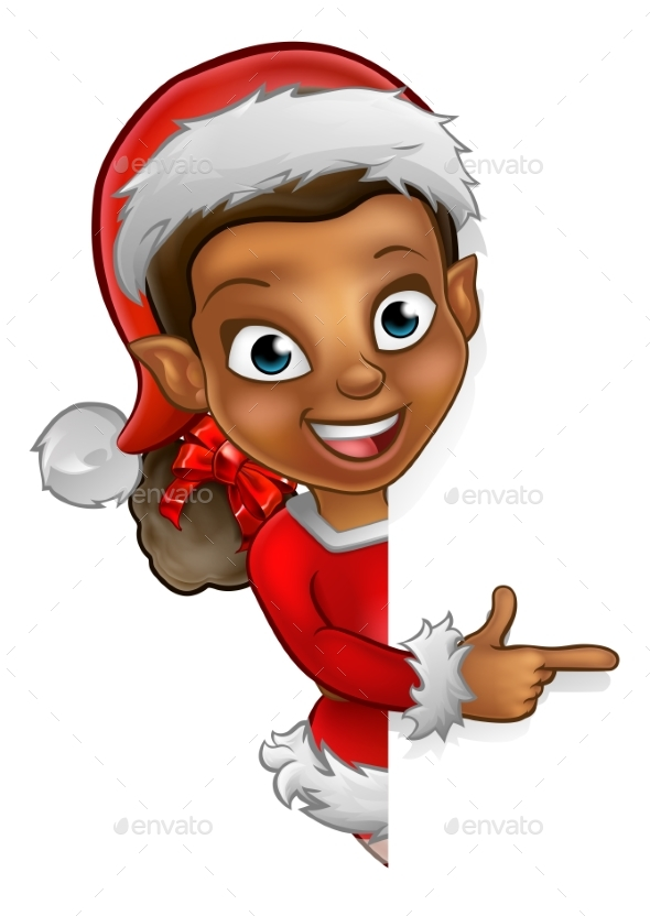 Christmas Elf Pointing - Miscellaneous Vectors