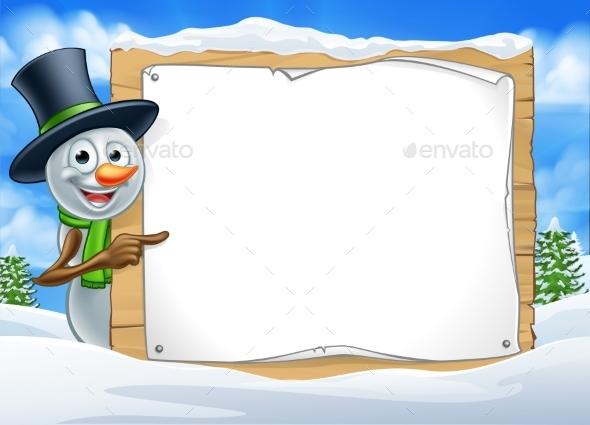 Cartoon Snowman Sign Scene - Miscellaneous Vectors