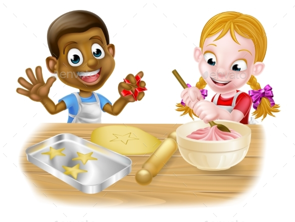 Children Playing at Baking - Miscellaneous Vectors