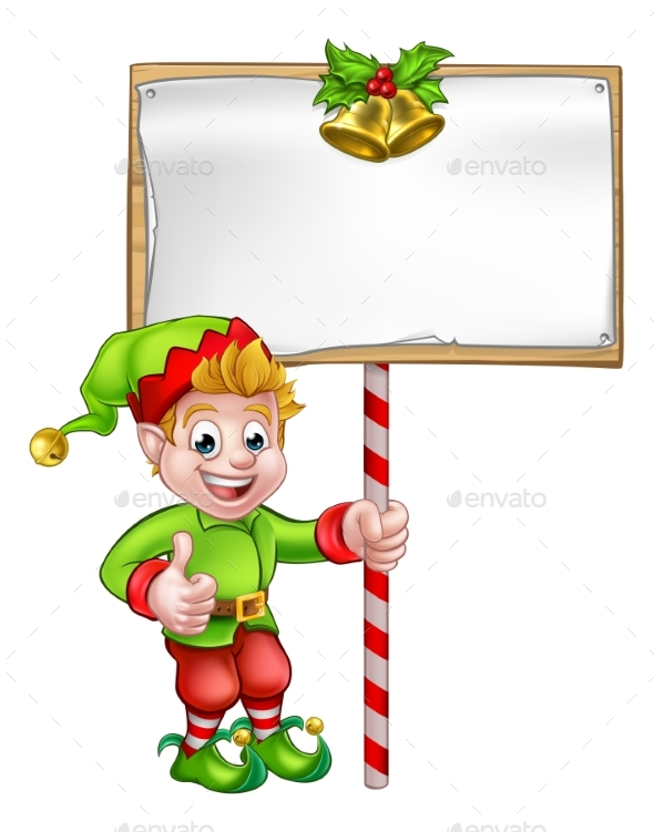 Christmas Sign Santa Helper Elf - Miscellaneous Vectors