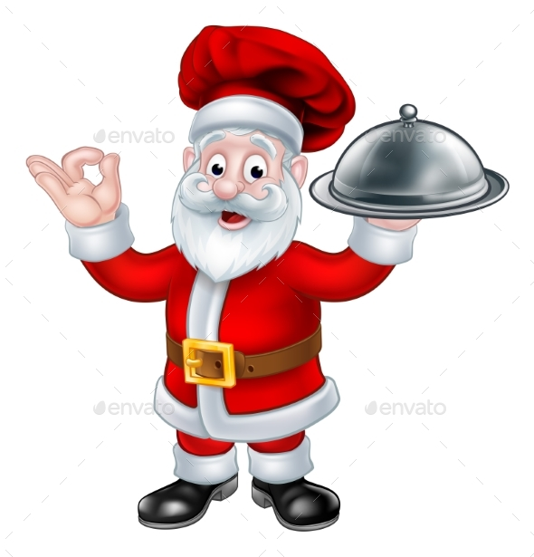 Santa Claus Chef Christmas Cartoon Character - Food Objects