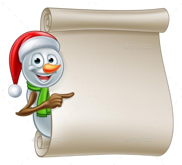 Snowman Christmas Scroll - Miscellaneous Vectors