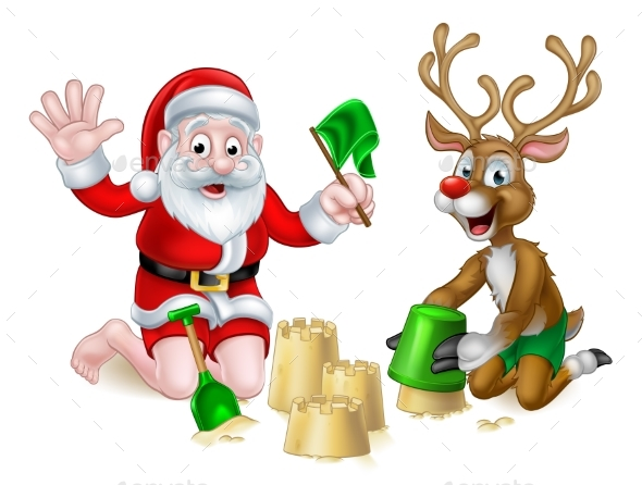 Santa and Reindeer Christmas Summer Beach - Seasons/Holidays Conceptual