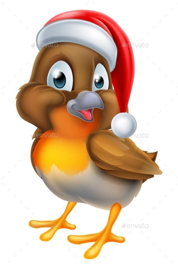 Christmas Cartoon Robin Bird - Animals Characters