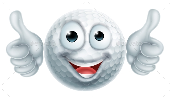 Cartoon Golf Ball Man Character - Miscellaneous Vectors
