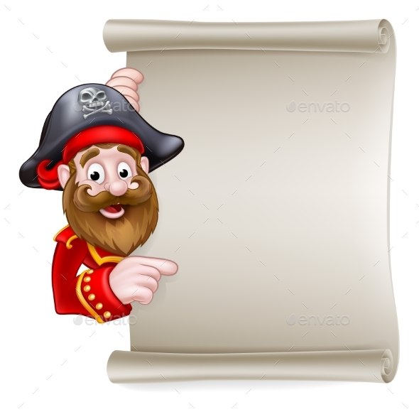 Cartoon Pirate Pointing at Scroll Sign - Miscellaneous Vectors