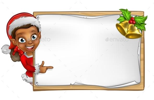Christmas Santa Helper Elf Character Sign - Miscellaneous Vectors
