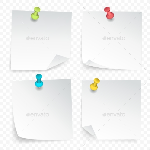 Pinned Paper Sheets Set - Objects Vectors