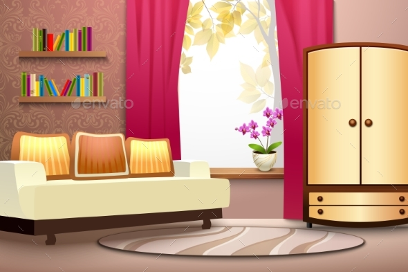 Room Cartoon Interior Illustration - Man-made Objects Objects