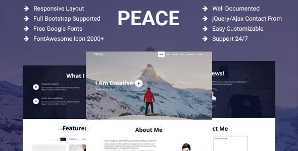 Peace – Creative Personal Portfolio / Resume / CV