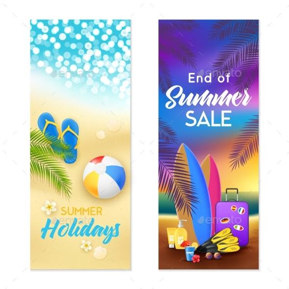 Summer Beach 2 Vertical Banners - Seasons/Holidays Conceptual