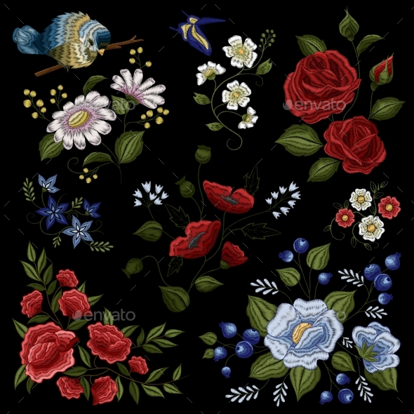 Floral Embroidery Folk Fashion Pattern - Man-made Objects Objects