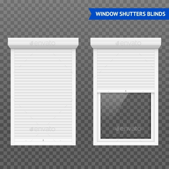 Window Roller Shutters Set - Objects Vectors