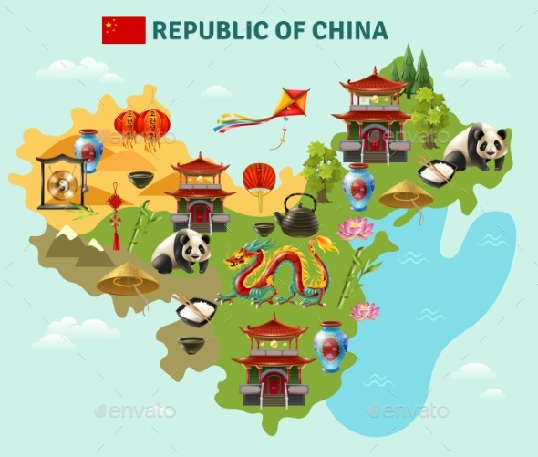 China Travel Sightseeing Map Poster - Food Objects