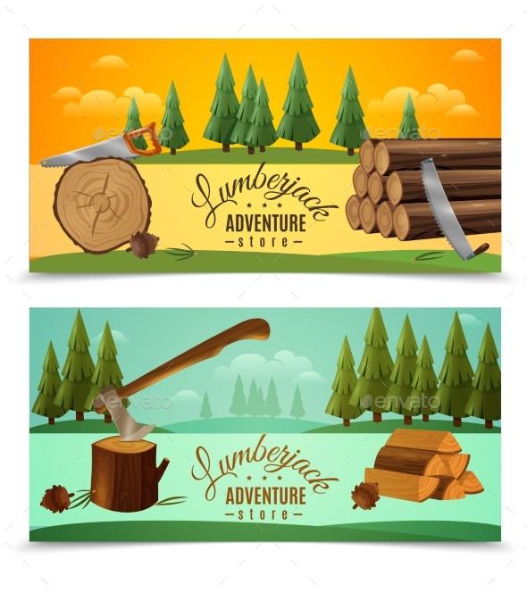 Lumberjack Woodcutter Horizontal Banners Set - Flowers & Plants Nature