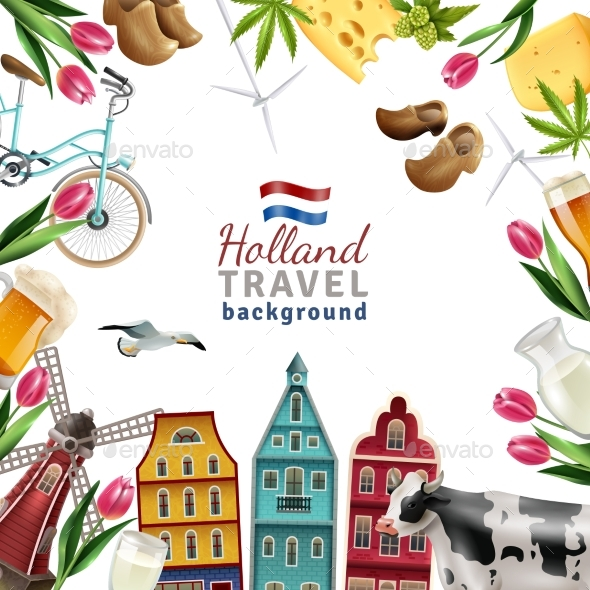 Holland Travel Frame Background Poster - Buildings Objects