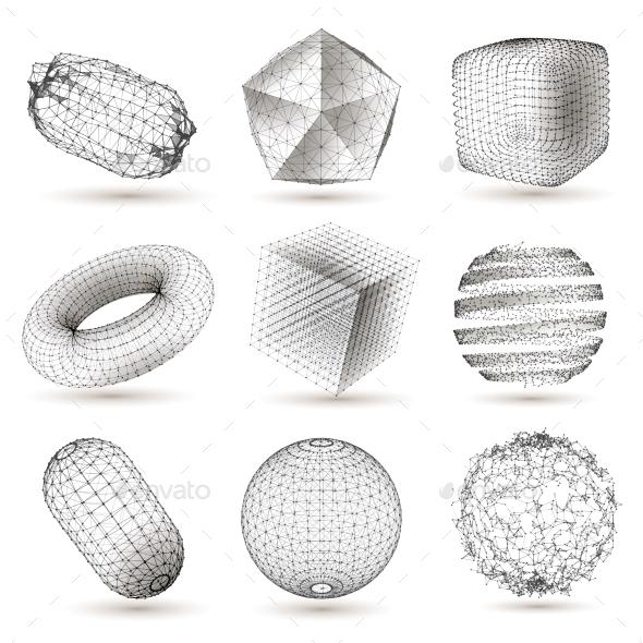 Digital Geometric Shapes Set - Objects Vectors