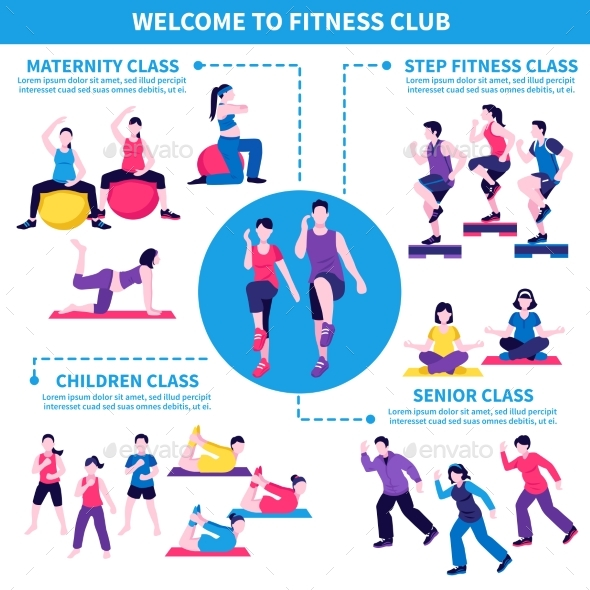 Fitness Club Classes Infographic Poster - People Characters