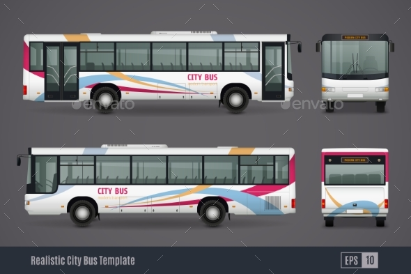 City Bus Colored Realistic Images - Man-made Objects Objects