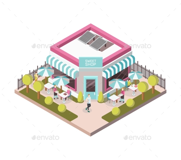 Sweet Shop Outside View Isometric Illustration - Business Conceptual