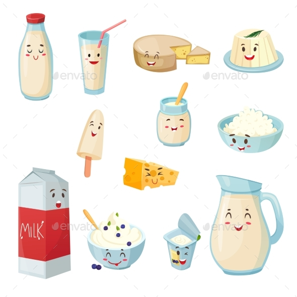 Milk Products With Smiles Cartoon Set - Food Objects