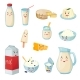 Milk Products With Smiles Cartoon Set - GraphicRiver Item for Sale