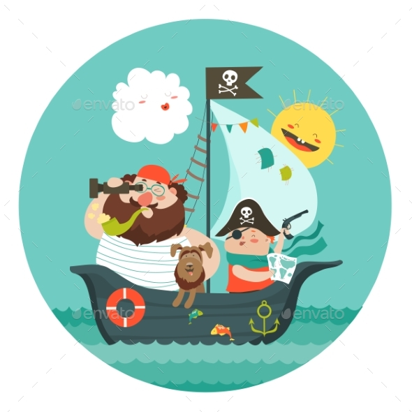 Happy Dad and Son Sailing at Their Pirate Ship - People Characters