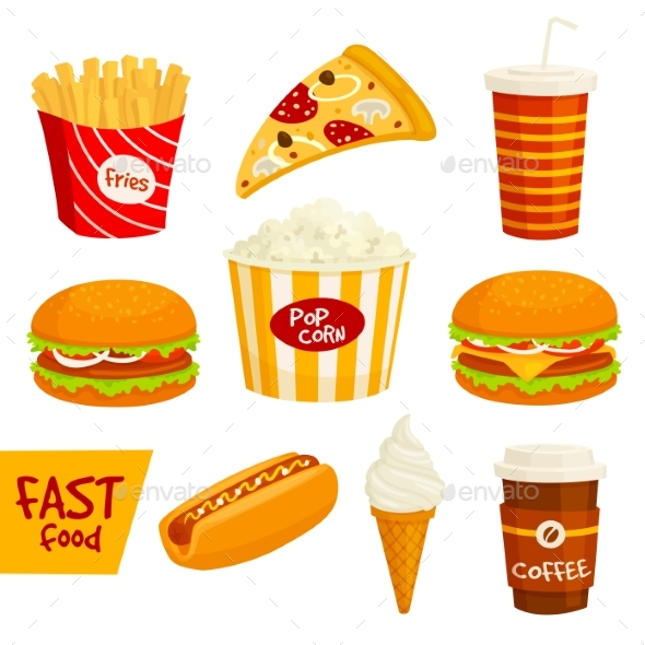 Fast Food Sandwich, Drink, Snack Icon Set - Food Objects
