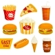 Fast Food Sandwich, Drink, Snack Icon Set - GraphicRiver Item for Sale