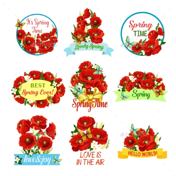 Spring Flower Bouquet Isolated Icon Set - Seasons/Holidays Conceptual
