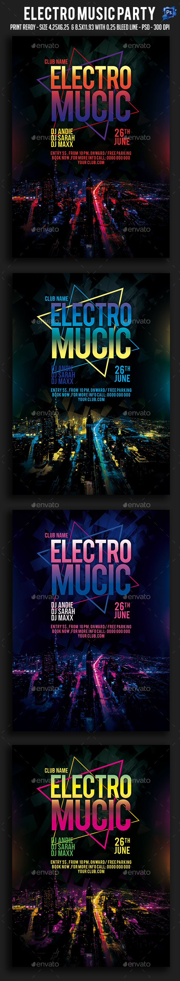 Electro Music Party Flyer - Clubs & Parties Events