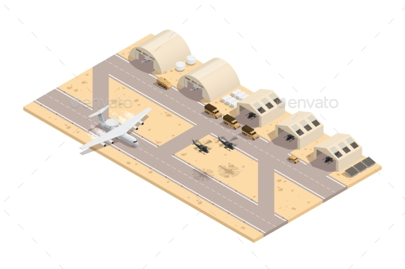 Colored Military Isometric Composition - Miscellaneous Vectors