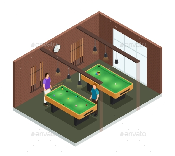 Isometric Game Club Interior Composition - Sports/Activity Conceptual