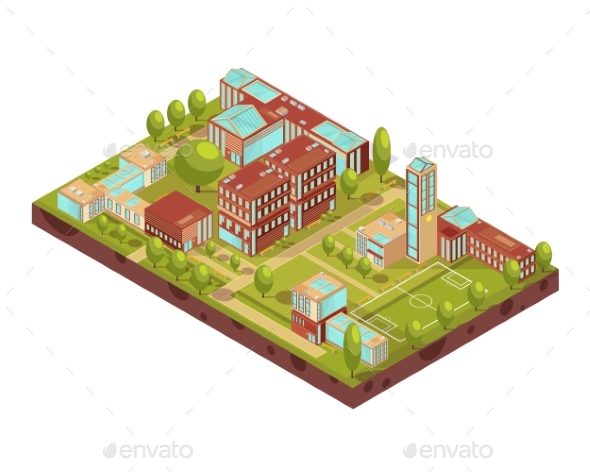 Modern University Buildings Isometric Layout - Buildings Objects