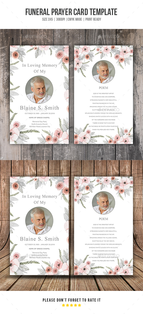 Funeral Prayer Card Template By Printtemplate  Graphicriver