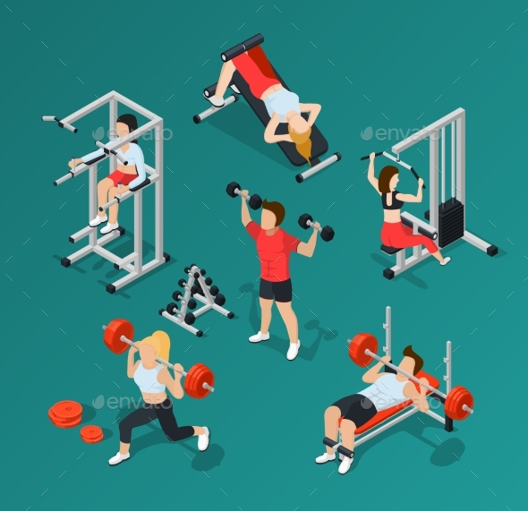 Gym People Icon Set - Sports/Activity Conceptual