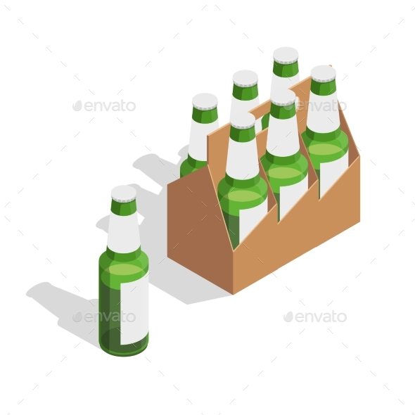 Beer Pack Isometric Composition - Miscellaneous Vectors