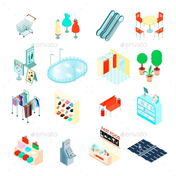Shopping Mall Isometric Icons Set - Retail Commercial / Shopping