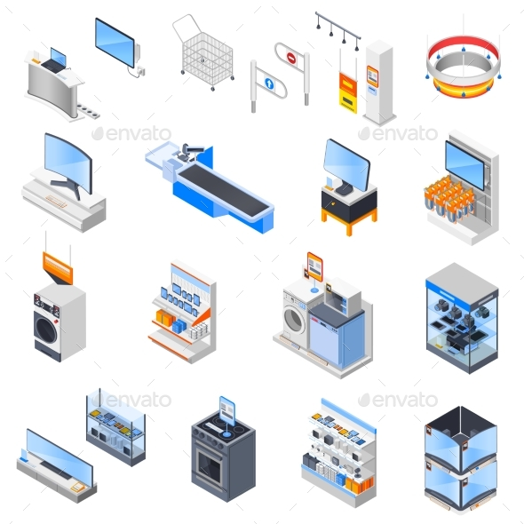 Electronics Supermarket Icon Set - Man-made Objects Objects
