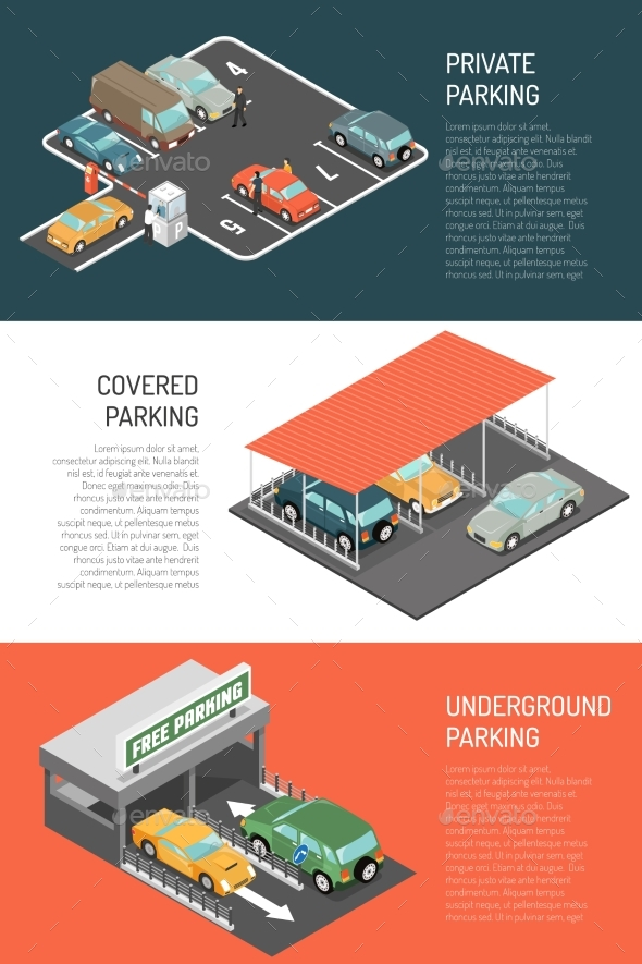 Parking Isometric Banners Set - Miscellaneous Vectors