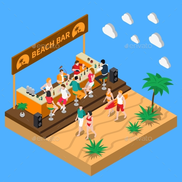 Beach Bar Isometric Composition - Food Objects