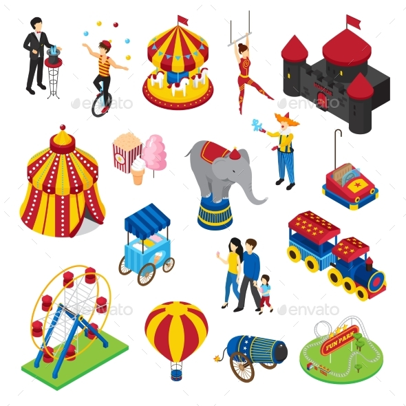 Amusement Park Isometric Set - Business Conceptual