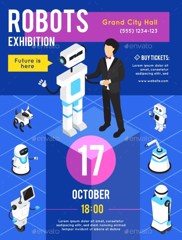 Robots Exhibition Isometric Poster - Business Conceptual