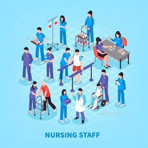 Hospital Nurses Flowchart Isometric Poster - Health/Medicine Conceptual
